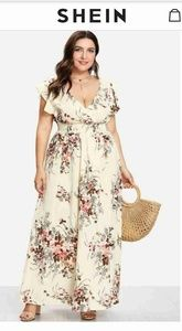 NWOT Trim Shirred Waist Floral Dress